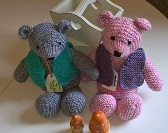 Little Prince Vintage Style Teddy Bear - Hand Knitted Wool Collectable Animal Baby
