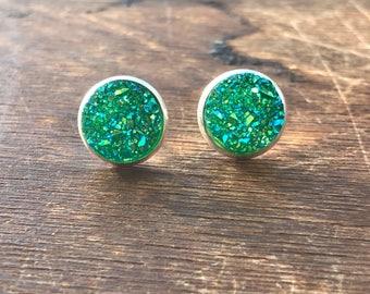 12 mm Green Faux Druzy On Silver Earrings