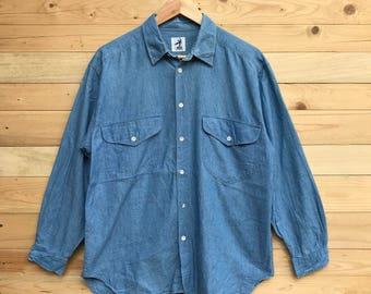 Rare! Vintage Hai Sporting Gear By Issey Miyake Chambray Denim Button Down Double Pocket Size XL