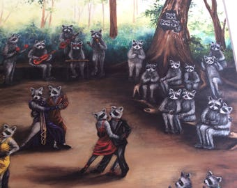 Erlinda Fitzpatrick art print limited edition print 24\100 ballroom dancing raccoons with musician