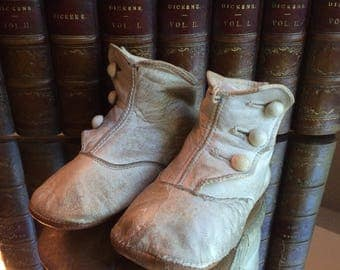 Victorian White Button Hightop Baby Shoes