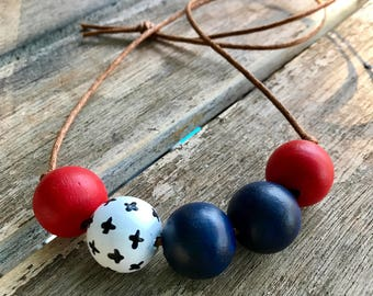 Nautical inspired, union jack colours hand painted wooden bead necklace