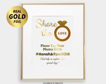 Wedding Hashtag Sign 8x10 - 4x6 - 5x7 Share The Love Print