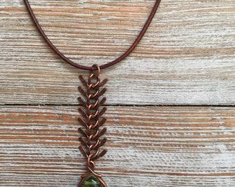 Fish Bone Chain Pendant Necklace