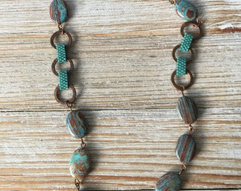 Gemstone and Peyote Link Necklace