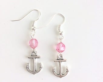 Earrings anchors and pink beads