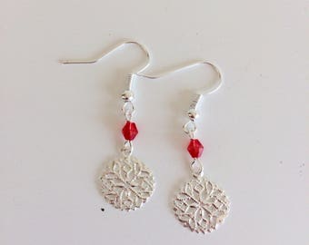 Earrings prints and red beads