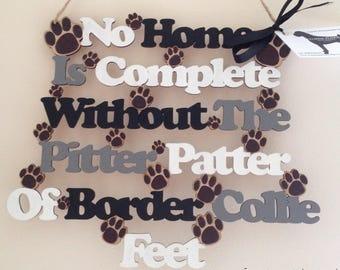 Border Collie Wooden Hanging Sign