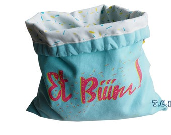 """Small tote bag screen printed """"and Biiim!"""" turquoise"""