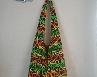 Free Shipping! (U.S. only!) POUCH'eM HAWAII Rasta Polynesian Print Hobo Bag