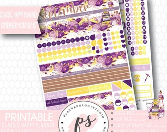 Let's Plan September 2017 Monthly View Kit Printable Planner Stickers (for Classic Mambi Happy Planner) | JPG/PDF/Silhouette Cut File