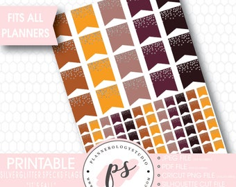 Silver Glitter Specks Flags Printable Planner Stickers | It's Fall | JPG/PDF/Silhouette Compatible Cut Files