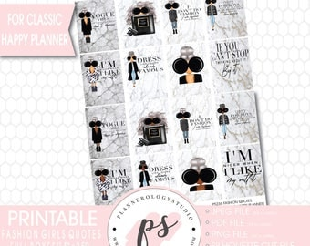 Fashion Girls Quotes Full Box Printable Planner Stickers (for use with Classic Happy Planner) (JPG/PNG/Silhouette Cut Files)