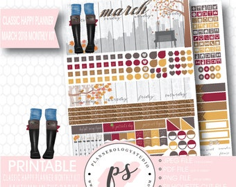 Autumn in the Park March 2018 Monthly View Kit Digital Printable Planner Stickers (for Classic Happy Planner)   JPG/PDF/Silhouette Cut File