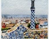 "ORIGINAL Miniature Ink and Watercolour Painting (2018) - ""Park Güell Lookout, Barcelona"" (Spain)/Mini Travel Series"