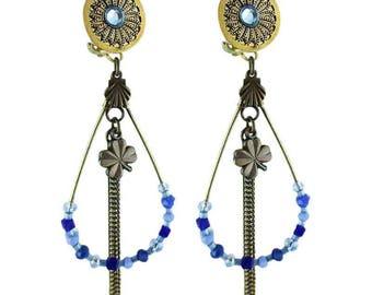 Eleanor blue clip earrings