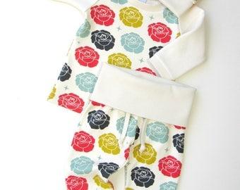 ORGANIC girl coming home outfit-Baby girl floral outfit-Stamp roses girl outfit-Organic newborn clothing set girls-Baby girl gift
