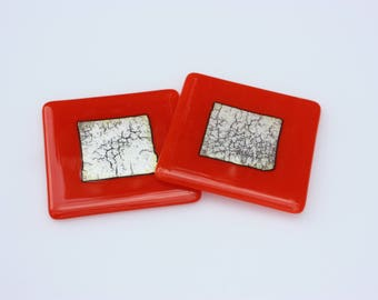 Orange and silver fused glass coasters, a coaster set with two matching drink coasters, orange and silver foil
