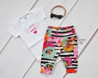 Baby Girl Coming Home Outfit, Baby Clothes, Baby Shower Gift, Baby Leggings, Floral Baby Pants, Newborn Hospital Outfit, Babies First Outfit