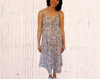 Cotton sundress size 8 babydoll dress midi floral high waist summer dress sleeveless vinatge 1970s size Medium 8