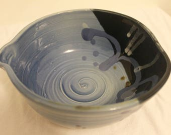 Handmade Blue Black Brown Pottery Dish Bowl