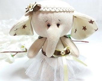 Textile beige elephant Elephant toy handmade Elephant ballerina Teddy elephant Soft elephant Handmade Textile