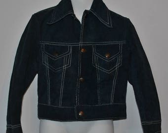 Mexican Blue Suede Kids Jacket Vintage Fits 4 - 5 years