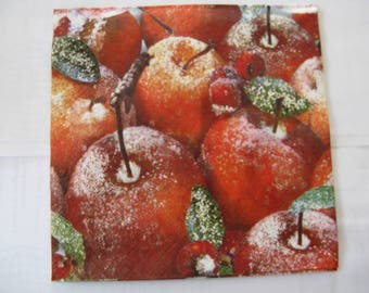 set of 2 frosted apples paper napkins