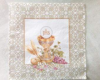 set of 2 papierserviette new paper napkins, communion