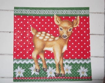 set of 2 napkins papierserviette deer Christmas