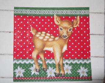 set of 2 napkins papierserviette deer Christmas