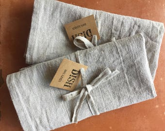 Linen Dish Towel, Natural, Unbleached