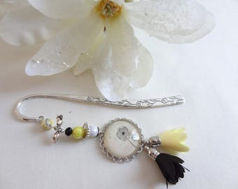 Bookmark silver metal cap glass/accessory book/book/reading/flower dandelion/gift reader/MOM/gift