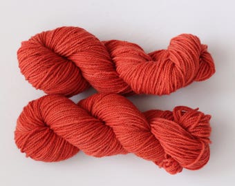 red plant dyed 100% wool yarn light rust