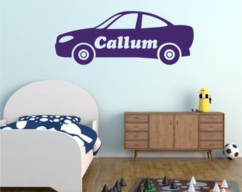 CAR Vehicle Personalised ANY NAME Girls Boys Childrens Bedroom Playroom Nursery Vinyl Matt Wall Art Sticker Decal Transfer *20 colours*