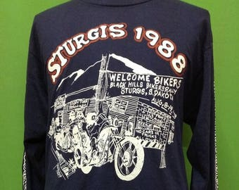 Sale 10% Vintage 80s STURGIS 1988 Motorcycle Rally // Rally Black Hills Bikers Rally