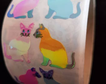 Plastic sticker roll with 50 breaks cats