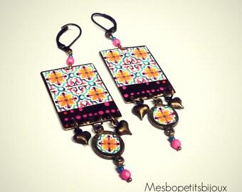 Dangle earrings pink, Bohemian, rectangle, unique piece