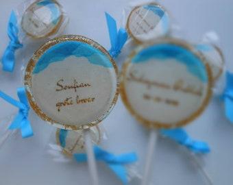 Set 6 Birth Announcement lollipops, handmade