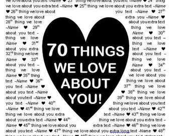"""11x17"""" Template in Microsoft Word for """"70 Things We Love About You"""" Editable and Printable Artwork in Black"""