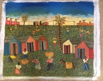 "Haitian Art ""Coffee Picking"""