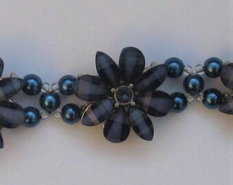 BR50 - Unique handmade blue flower motif bracelet