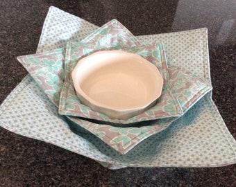 Aqua Grey Microwave Pot Holders