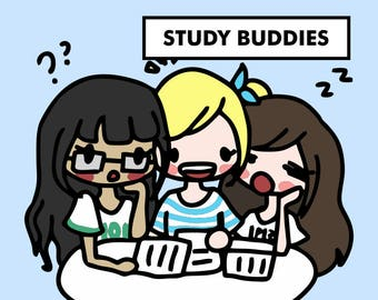 STUDY GROUP with Friends Stickers / Planner Stickers, Study with Friends, Schoolwork, Homework, Exam, Study Buddies, Finals, School / SD54