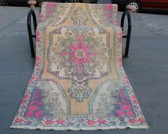 Turkish Rug, Muted Color Oushak Pink Rug, Vintage Turkish Oushak Rug, Oriental Hand