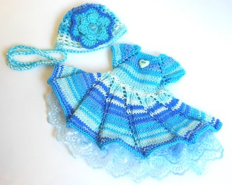 Dress and hat. Set for 13 inch doll, 32 cm 34 cm