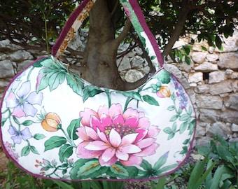 Bag romantic rounded floral tone fuchsia