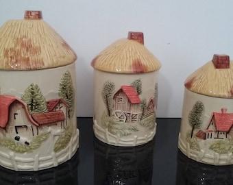 Vintage Marks and Rosenfeld Cottage Barn Farm Scene -  Set of 3 Kitchen Canisters