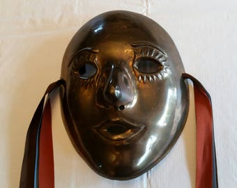 "vintage 1980 's solid brass mask 7"" - theatre mardi gras masquerade art deco made in india - wall hanging decor face opera metal"