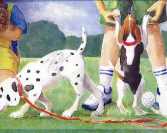 Dogs at Play Ground Wallpaper Border 2934 KL